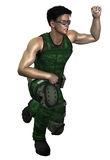 Futuristic Soldier. Giving command to halt Royalty Free Stock Image