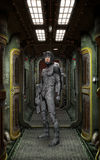 Futuristic soldier inside spaceship Royalty Free Stock Photos