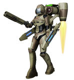 Futuristic soldier with laser guns. 3D render of a futuristic soldier with laser guns vector illustration