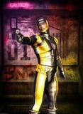 Futuristic soldier manga secret agent. In 3d royalty free illustration