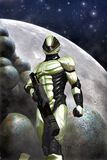 Futuristic soldier and moon Stock Photo