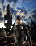 Futuristic soldier in spacesuit Stock Images