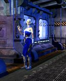 Futuristic soldier, young woman, armed with two guns, exploring the inside of a spaceship, 3d illustration. Futuristic soldier, young woman with white and blue stock illustration