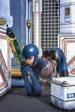 Futuristic space adventurer girl Royalty Free Stock Photo