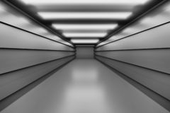 Illustration with tunnel, corridor in black and white colors. Futuristic space - empty tunnel corridor reflective floors. Image in blue purple colors. 3D vector illustration
