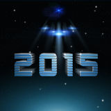 Futuristic space galaxy forward to 2015 Stock Photo
