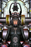 Futuristic space pilot girl. 3D render science fiction illustration Stock Photo