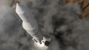 Futuristic space rocket launch with smoke and dust. A 3D rendered image of a rocket launch to space. Detailed futuristic satellite with dynamic smoke and exhaust Stock Photo