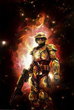 Futuristic space soldier and fire Stock Image