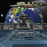Futuristic space station Stock Image