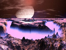Futuristic Space Station on Alien World. View from above of futuristic space station complex built on a plateau on an island within a huge fog filled chasm vector illustration