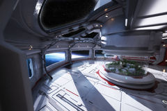 Futuristic space station interior overlooking a planet with a center atrium. vector illustration