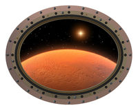 Futuristic Space Station Porthole. View To Red Stock Photos