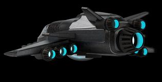 Futuristic spacecraft isolated on black background 3D rendering vector illustration