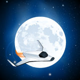 Futuristic Spaceship. Futuristic space ship with moon in the background Royalty Free Stock Photography