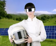 Futuristic spaceship astronaut helmet woman Royalty Free Stock Photo