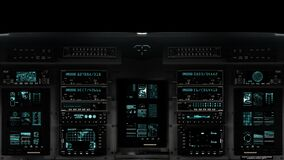 Futuristic Control Bridge on a Spaceship in Alpha Channel. Futuristic Spaceship Cockpit Dashboard with Functional Monitors stock video footage