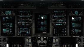 Futuristic Control Room Dashboard on a Spaceship. Futuristic Spaceship Cockpit Dashboard with Functional Monitors stock video footage