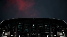 Futuristic Spaceship Flying Towards a Massive Lightning Storm. Futuristic Spaceship Cockpit Dashboard with Functional Monitors stock footage