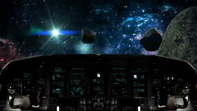Futuristic Spaceship Traveling Inside an Asteroid Field. Futuristic Spaceship Cockpit Dashboard with Functional Monitors stock video