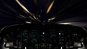 Futuristic Spaceship Traveling Inside a Golden Wormhole. Futuristic Spaceship Cockpit Dashboard with Functional Monitors stock video footage