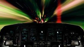 Futuristic Spaceship Traveling Inside a Vortex. Futuristic Spaceship Cockpit Dashboard with Functional Monitors stock video