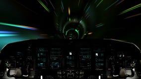 Futuristic Spaceship Traveling Inside a Wormhole. Futuristic Spaceship Cockpit Dashboard with Functional Monitors stock video