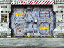 Futuristic spaceship door Stock Images