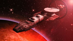 Futuristic spaceship flying over a red planet