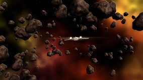 Futuristic spaceship flying in space. Animation of a futuristic spaceship flying in space between comets and a colorful nebula vector illustration