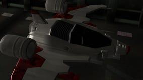 Futuristic spaceship in hangar launching into space stock video