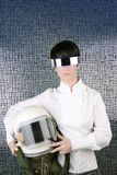 Futuristic spaceship helmet astronaut woman Stock Photo