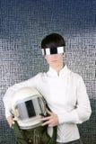 Futuristic spaceship helmet astronaut woman Stock Photo