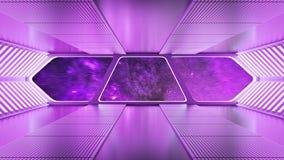 Futuristic Spaceship Interior. 3d Rendering Stock Images