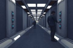 Free Futuristic Spaceship Interior Corridor Royalty Free Stock Image - 115749846