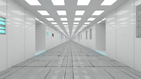 Futuristic spaceship interior corridor Stock Photos