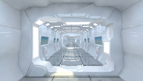 Futuristic spaceship interior corridor Royalty Free Stock Photography