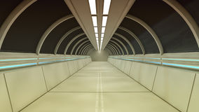Futuristic spaceship interior corridor. 3d render. Futuristic spaceship interior corridor Stock Photos