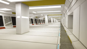 Futuristic spaceship interior corridor Stock Photo