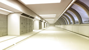 Futuristic spaceship interior corridor Stock Photography