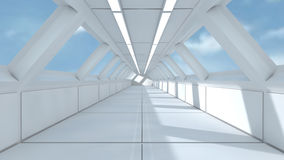 Futuristic spaceship interior corridor Stock Images
