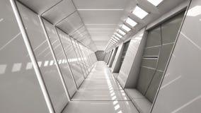 Futuristic spaceship interior corridor Royalty Free Stock Photo