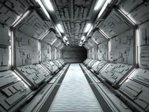Futuristic spaceship interior. 3d rendering Stock Image