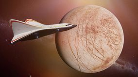 Futuristic spaceship in orbit of the planet Jupiter's moon Europa, shuttle mission to the water ice moon. Artist`s impression of a futuristic space ship Royalty Free Stock Photography