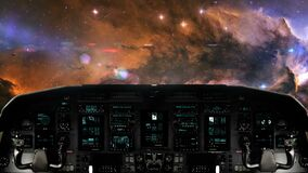 Futuristic Spaceship Traveling in a Beautiful Galaxy. Futuristic Spaceship Cockpit Dashboard with Functional Monitors stock video footage
