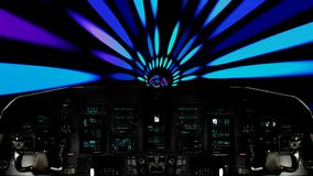 Futuristic Spaceship Traveling Inside a Psychedelic Vortex. Futuristic Spaceship Cockpit Dashboard with Functional Monitors stock video