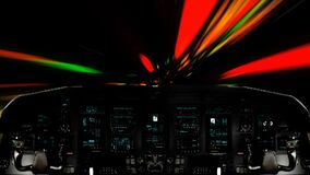 Futuristic Spaceship Traveling Inside a Vortex Wormhole. Futuristic Spaceship Cockpit Dashboard with Functional Monitors stock footage