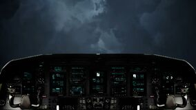 Futuristic Spaceship Traveling Towards a Massive Lightning Storm. Futuristic Spaceship Cockpit Dashboard with Functional Monitors stock video footage