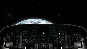 Futuristic Spaceship Traveling Towards Planet Earth. Futuristic Spaceship Cockpit Dashboard with Functional Monitors stock footage