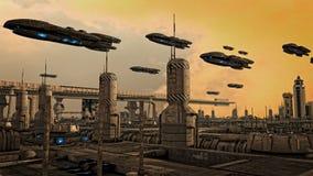 Futuristic spaceship UFO Stock Photo